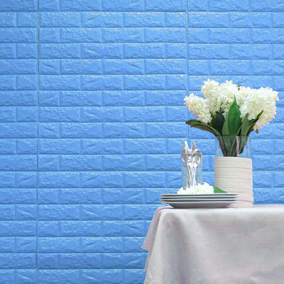 10 Pack | 58 Sq.Ft Turquoise Foam Brick Wall Tiles Peel and Stick 3D Wall Panel Room Decor