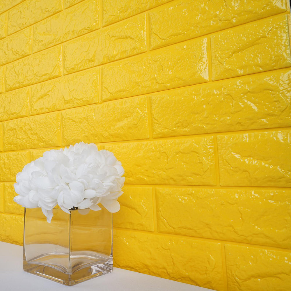10 Pack | 58 Sq.Ft Yellow Foam Brick Wall Tiles Peel and Stick 3D ...