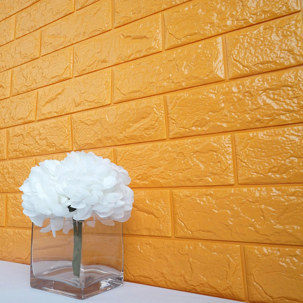 10 Pack | 58 Sq.Ft Gold Foam Brick Wall Tiles Peel and Stick 3D Wall ...