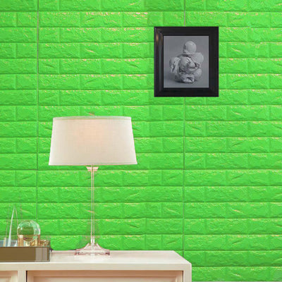 10 Pack | 58 Sq.Ft Green Foam Brick Wall Tiles Peel and Stick 3D Wall Panel Room Decor