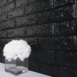 10 Pack | 58 Sq.Ft Black Foam Brick Wall Tiles Peel and Stick 3D Wall Panel Room Decor