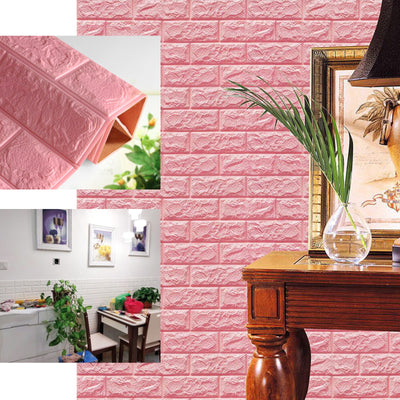 Pack of 10 | 58 Sq.Ft Black Foam Brick Wall Tiles Peel and Stick 3D Wall Panel Room Decor