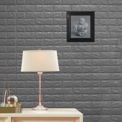 10 Pack | 58 Sq.Ft Metallic Silver Foam Brick Wall Tiles Peel and Stick 3D Wall Panel Room Decor