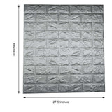Pack of 10 | 58 Sq.Ft Metallic Silver Foam Brick Wall Tiles Peel and Stick 3D Wall Panel Room Decor