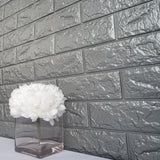 10 Pack | 58 Sq.Ft Silver Foam Brick Wall Tiles Peel and Stick 3D Wall Panel Room Decor