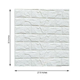 Pack of 10 | 58 Sq.Ft White Foam Brick Wall Tiles Peel and Stick 3D Wall Panel Room Decor