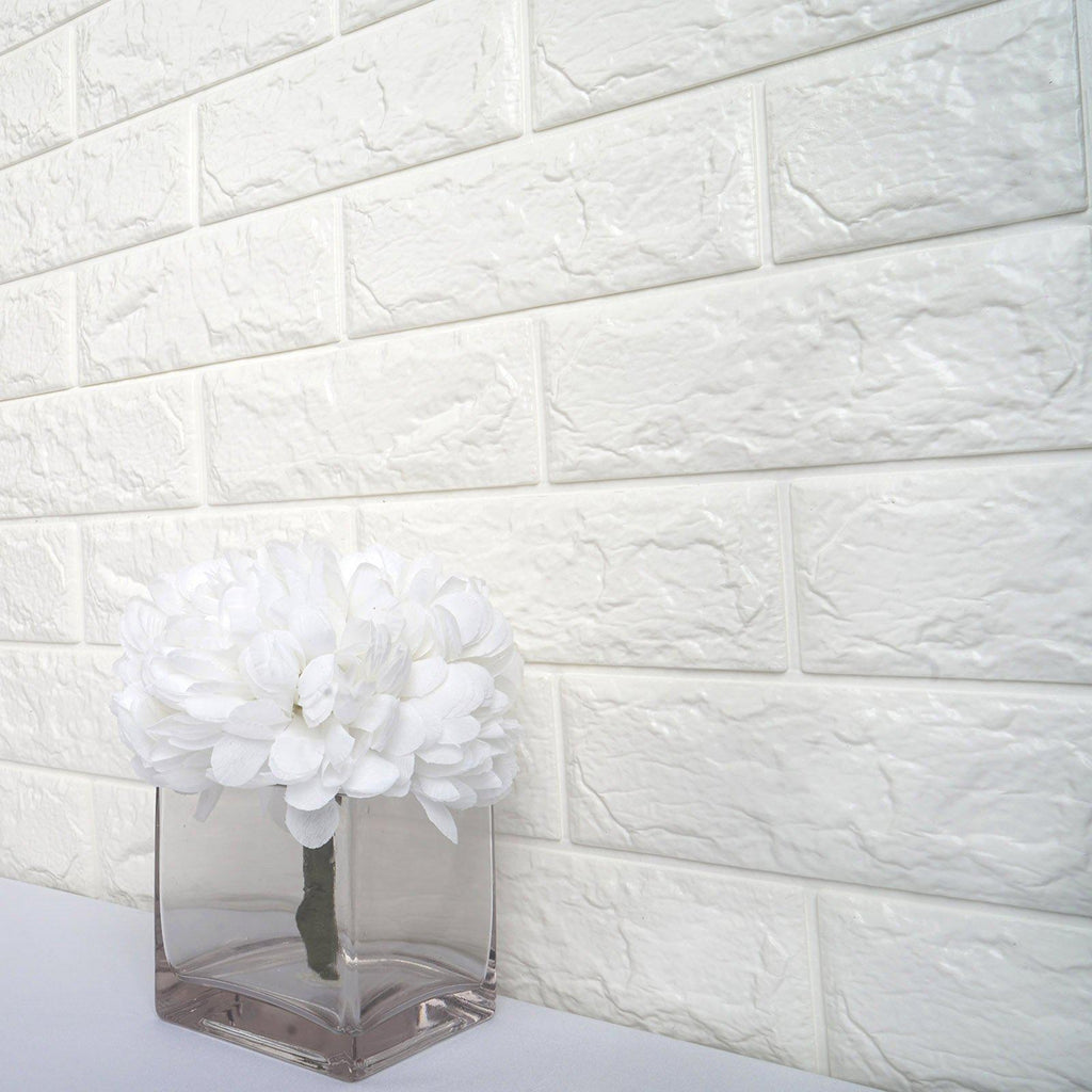 10 Pack 58 Sq Ft White Foam Brick Wall Tiles Peel And Stick 3d Wall Panel Room Decor Tableclothsfactory