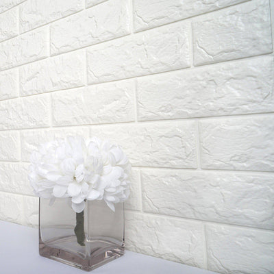10 Pack | 58 Sq.Ft White Foam Brick Wall Tiles Peel and Stick 3D Wall Panel Room Decor