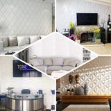 10 Pack | 52 Sq Ft 3D White Foam Self Adhesive Wall Panels - Diamond Design