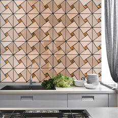 "10 Pack Self-adhesive Copper Metal Backsplash Peel & Stick Abstract Design Wall Tile With Rhinestones - 12""x12"""