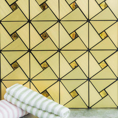 10 Pack | 10 Sq.Ft Gold Metal Wall Tiles Peel and Stick Backsplash Rhinestone Studded 3D Wall Panels