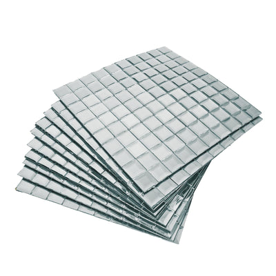 "10 Pack | 12""x12"" Silver Peel and Stick Backsplash Mirror Wall Tiles"