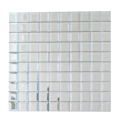 "10 Pack | 12""x12"" Silver Peel and Stick Mirror Wall Tiles"