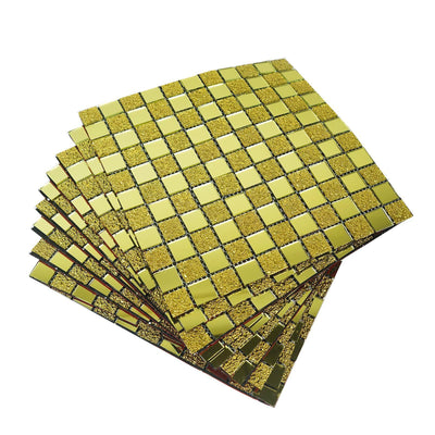 "10 Pack | 12""x12"" Gold Backsplash Peel and Stick Colored Glass Mosaic Mirror Wall Tiles"