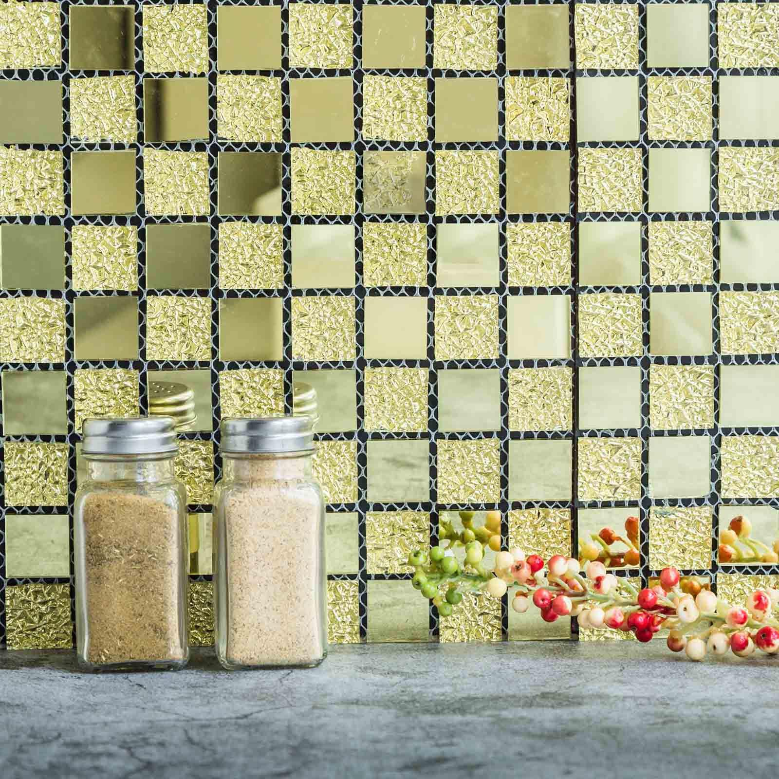 10 Pack Self-adhesive Gold Backsplash Peel & Stick Colored Glass ...