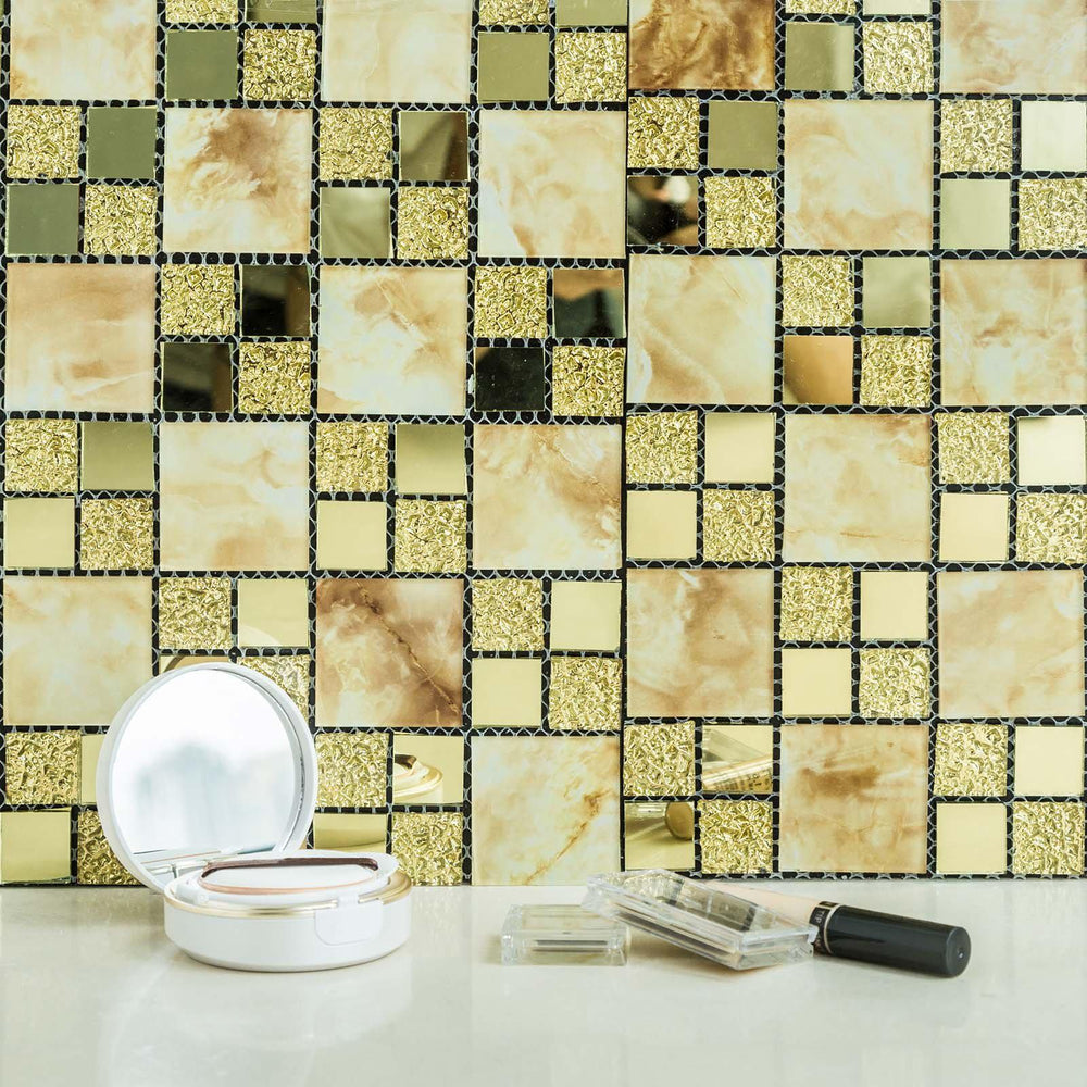 10 Pack Self-adhesive Gold Backsplash Peel & Stick Marble Glass ...