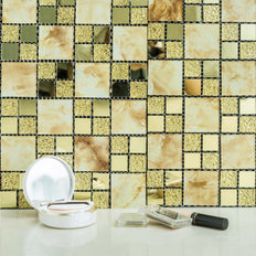 "10 Pack | 12""x12"" Gold Peel and Stick Backsplash Marble Glass Mosaic Mirror Wall Tiles"