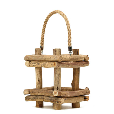 "12"" Rustic Multipurpose Wooden Lantern Centerpiece Hanging Candle Holder With Rope Handles"
