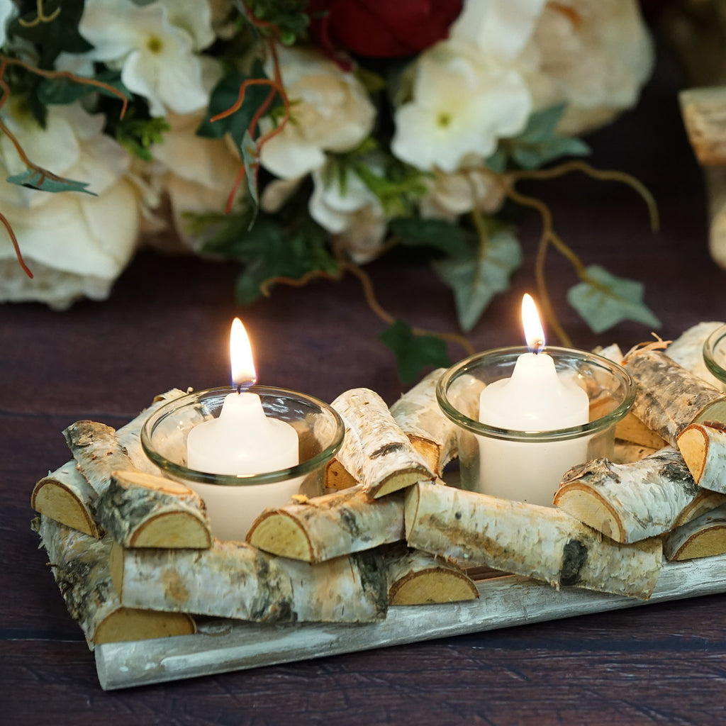Wooden Candle Holder 16 Long Natural Birch Wood 4 Glass Votive Holders Included Tableclothsfactory