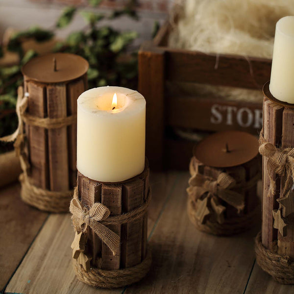 "Set of 4 | Assorted Wooden Pillar Candle Holder Set With Braided Twines Burlap Ribbons and Hanging Stars - 8""/7""/5""/4"""