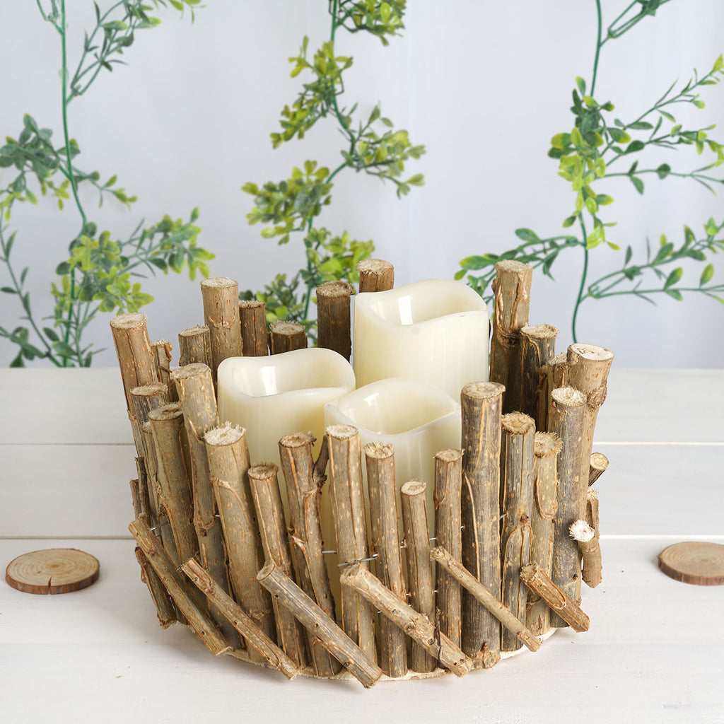 10 Round Natural Wood Candle Holder Flower Vase Rustic