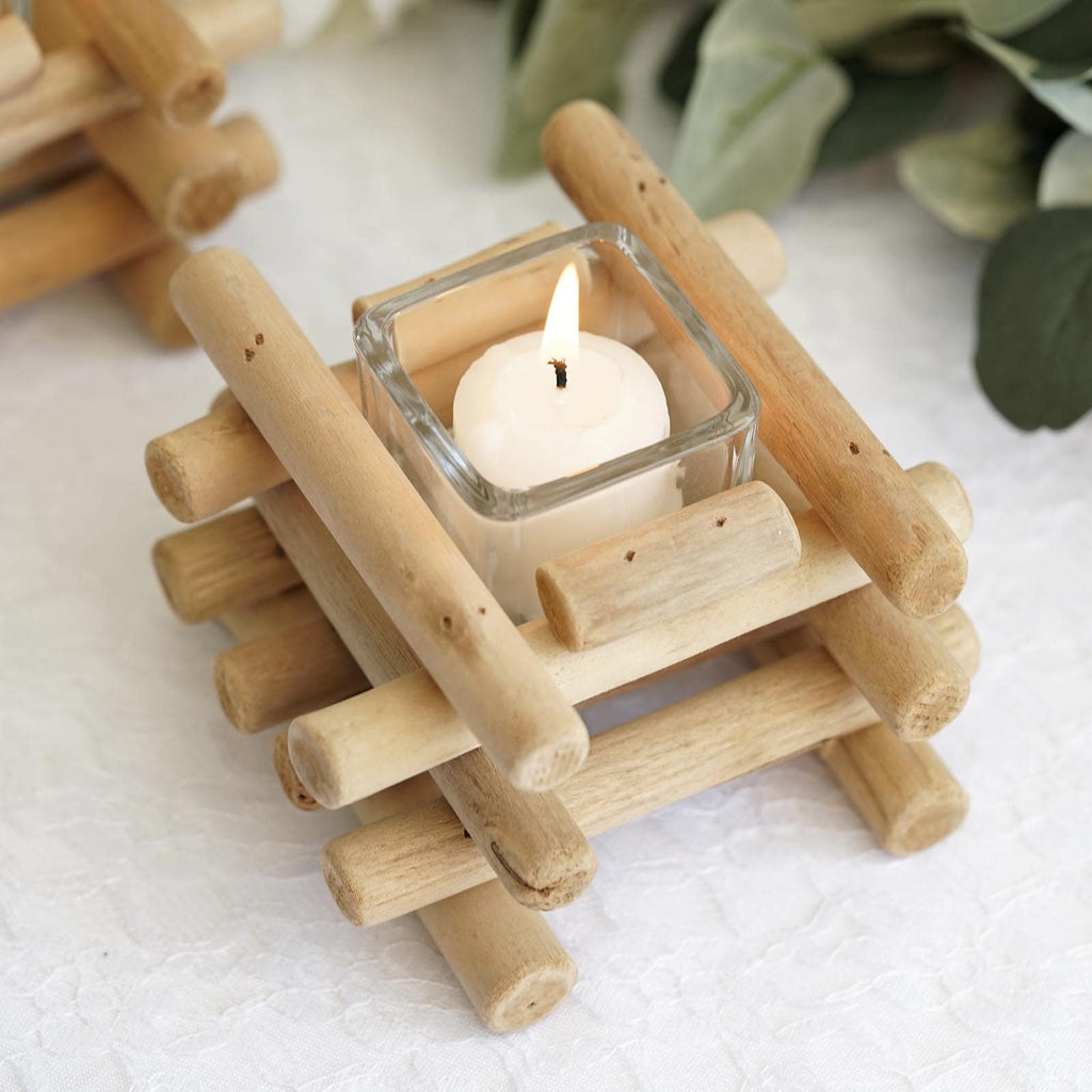 Driftwood Wooden Candle Holder Tealight Candle Holders Tableclothsfactory