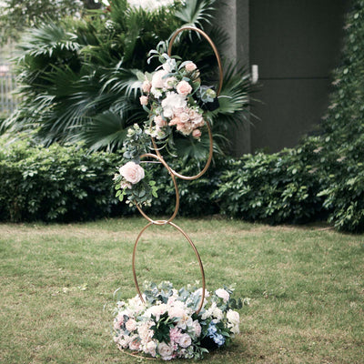 5 Ft Gold Hoop Pillar Flower Stand, Metal Wedding Arch Table Centerpiece