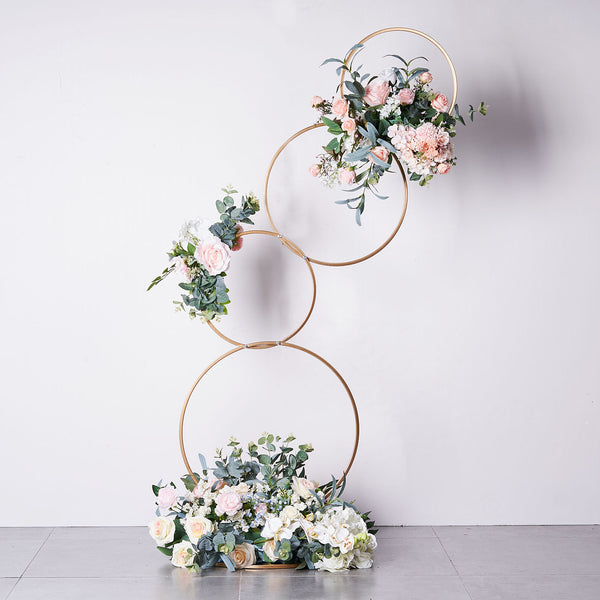 5Ft Gold Hoop Pillar Flower Stand, Metal Wedding Arch Table Centerpiece