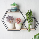2-Tier Geometric Floating Shelf, Dessert Display Stand With Black Double Hexagon Design