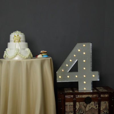 2 FT | Vintage Metal Marquee Number Lights Cordless With 16 Warm White LED - 4