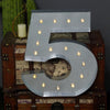 2 FT | Vintage Metal Marquee Number Lights Cordless With 16 Warm White LED - 5