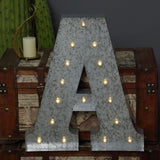 2 FT | Vintage Metal Marquee Letter Lights Cordless With 16 Warm White LED - A