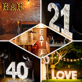 2 FT | Vintage Metal Marquee Number Lights Cordless With 16 Warm White LED - 3