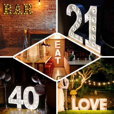 2 FT | Vintage Metal Marquee Number Lights Cordless With 16 Warm White LED - 6