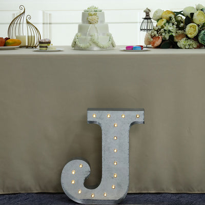 2 FT | Vintage Metal Marquee Letter Lights Cordless With 16 Warm White LED - J
