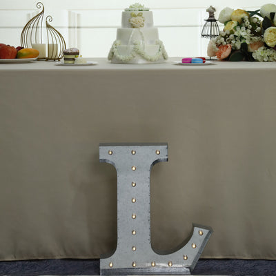 2 FT | Vintage Metal Marquee Letter Lights Cordless With 16 Warm White LED - L