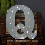 2 FT | Vintage Metal Marquee Letter Lights Cordless With 16 Warm White LED - Q