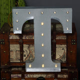 2 FT | Vintage Metal Marquee Letter Lights Cordless With 16 Warm White LED - T