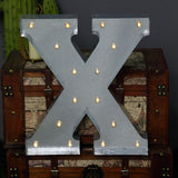 2 FT | Vintage Metal Marquee Letter Lights Cordless With 16 Warm White LED - X