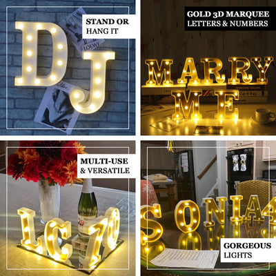 "6"" Gold 3D Marquee Numbers 