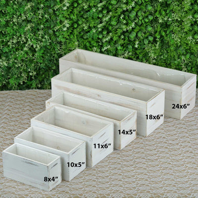 4 Pack | 10x5'' Whitewash Rectangular Wood Planter Box Set With Removable Plastic Liners