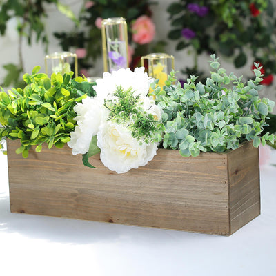 "18""x6"" Natural Rectangular Wood Planter Box Set With Removable Plastic Liners"