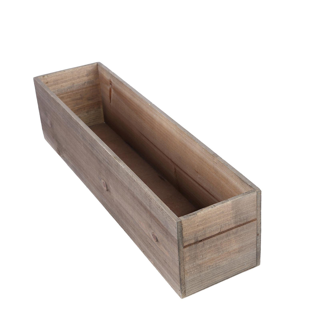 Image of: 24 X6 Natural Rectangular Wood Planter Box Set With Removable Plastic Liners Tableclothsfactory