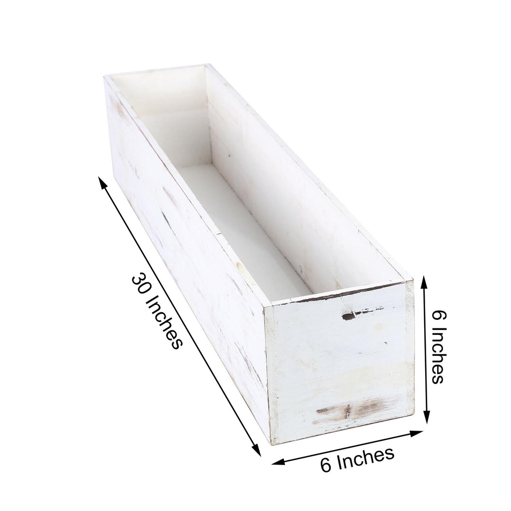 Image of: 30 X6 White Wood Planter Box With Plastic Liners Tableclothsfactory