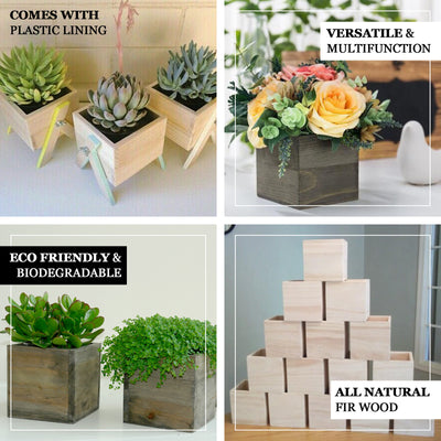 "2 Pack | 5"" Whitewash Square Unfinished Wooden Planter Box Set With Removable Plastic Liners"
