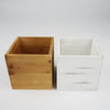 "2 Pack | 5"" Whitewash Square Wood Planter Box Set With Removable Plastic Liners"