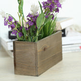 2 Pack | 8x4'' Natural Rectangular Unfinished Wooden Planter Box Set With Removable Plastic Liners