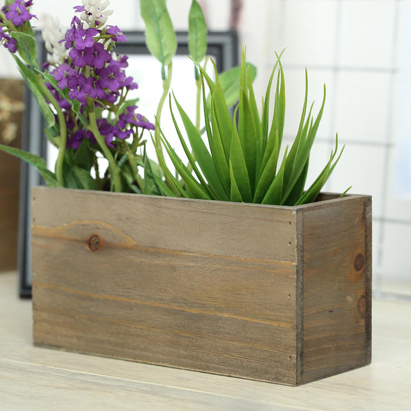 "2 Pack | 8""x4'' Natural Rectangular Unfinished Wooden Planter Box Set With Removable Plastic Liners"