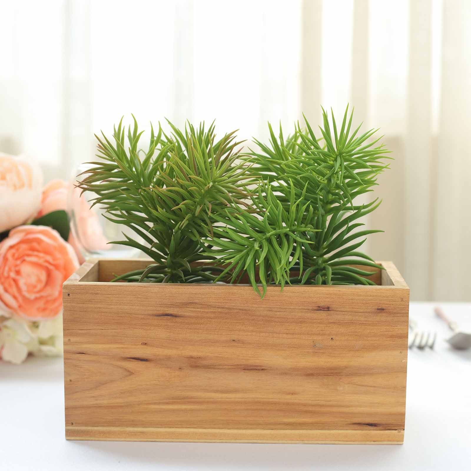 4 Pack 8x4 Natural Rectangular Wood Planter Box Set With