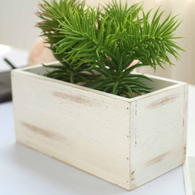 4 Pack | 8x4'' Whitewash Rectangular Wood Planter Box Set With Removable Plastic Liners